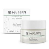 Janssen Organics Soft Peeling - Деликатный пилинг для очищения и выравнивания рельефа кожи 50 млСредства для ухода за лицом<br>Выравнивает поверхность кожи и стимулирует процессы клеточного обновления. Мельчайшие гранулы из скорлупы ореха Shea делают кожу более гладкой, в то время как масла оливы и кокоса придают ей мягкость и шелковистость. Soft Peeling идеально подготавливает кожу к дальнейшему уходу.Применение: Нанесите Soft Peeling на чистую кожу лица и помассируйте кончиками пальцев. Остатки смойте большим количеством воды.В салоне применять согласно регламенту ухода.Активные компоненты: Скорлупа орехов Shea, сок алоэ вера*, кокосовое масло* и масло оливы*.* Выращено на экологически чистых плантациях.Объем: 50 мл<br>