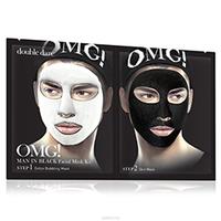 Double Dare OMG  Man In Black Facial Mask Kit - Двухкомпонентный комплекс мужских масок «детокс» 5 шт