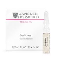 Janssen Skin Excel Glass Ampoules De-Stress (sensitive skin) - Антистресс (чувствительная кожа) 25*2 млКонцентраты для лица<br>Концентрат для чувствительной, раздраженной, пораженной солнечными лучами, подвергшейся стрессу кожи.Применение:Оберните ампулу бумажной салфеткой и резким движением отломите ее кончик. Вылейте содержимое ампулы на ладонь и затем распределите его по коже слегка надавливающими движениями. Поверх нанесите соответствующий дневной или ночной крем. Только для наружного применения!В салоне применять согласно регламенту процедуры. Может использоваться как экстренная помощь для раздраженной и чувствительной кожи.Активные компоненты:Экстракт водорослей, протеины люпина, аллантоин, гиалуроновая кислота с длинной цепью.Объем:25*2 мл<br>