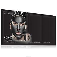 Double Dare OMG Man In Black Peel Off  Mask Kit - Трехкомпонентный комплекс мужских масок «смягчение и восстановление» 5 штук