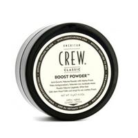 American Crew Boost Powder - Пудра  для объема волос 10 гр.Стайлинг мужской<br>Оригинальное средство, способное преобразить тонкие вьющиеся волосы. ПудраBoost Powderпоможет уложить непослушные пряди, придаст волосам необходимый объем и естественный матовый блеск. С помощью пудры можно эффектно приподнять волосы в прикорневой зоне, чего не всегда удается добиться с помощью других укладочных средств. Пудра применяется как самостоятельно, так и дополняет действие спрея для финальной укладки. Всякосметика American Crew, стайлинговая в том числе, создается для ухода за волосами и обязательно содержит в составе увлажняющие и восстанавливающие вещества. Это относится и к пудре Американ Крю, которая, сохраняя прическу, еще и защищает волосы от негативного влияния внешней среды – ультрафиолетовых лучей и высушивающего действия ветра. Пудра абсолютно не видна на волосах, она не утяжеляет пряди, при этом делает их упругими и эластичными.Способ применения:Встряхнуть баночку сBoost Powderнесколько раз и нанести средство на волосы, ближе к корням, руками равномерно распределяя пудру. Волосы могут быть и сухими и влажными. Пудра удаляется вычесыванием или во время мытья волос с любым шампунемClassic.Объём: 10 г<br>