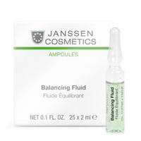 Janssen Skin Excel Glass Ampoules Balancing Fluid (combination skin) - Балансирующий концентрат для ухода за комбинированной кожей 25*2 млКонцентраты для лица<br>Балансирующий концентрат был разработан для ухода за кожей комбинированного типа. В его состав входит «умный» компонент – инозитол, добытый из рисовых отрубей. Средство эффективно увлажняет сухие участки, а также регулирует работу сальных желез на жирных областях кожи. Остальные ингредиенты концентрата уменьшают размеры пор и снижают излишний синтез себума. Благодаря этому баланс комбинированной кожи восстанавливается, жирный блеск заменяется матовым и ровным оттенком, уходит сухость и предотвращаются какие-либо воспаления.Применение:Оберните ампулу бумажной салфеткой и резким движением отломите ее кончик. Вылейте содержимое ампулы на ладонь и затем распределите его по коже слегка надавливающими движениями. Поверх нанесите соответствующий дневной или ночной крем. Только для наружного применения! В салоне применять согласно регламенту процедуры.Активные компоненты:Инозитол, себорегулирующий комплекс (олеанолевая + нордигидрогваяретовая кислота), гиалуроновая кислота, экстракты красных водорослей Chondrus crispus, грибов Fomes officinalis и алоэ вера.Объем: 25x2 мл<br>