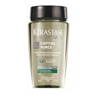 Kerastase Homme Capital Force Shampooing Anti-oiliness effect - Шампунь очищающий для жирных волос 250 млШампуни мужские<br>Хом Капитал Форс Шампуинг Анти-Ойлинесс Эффект от Kerastase представляет собой шампунь для жирных волос у мужчин. Продукт тщательно очищает жирные волосы. Его сбалансированный компонентный состав способствует укреплению корней волос, возвращает им естественный блеск и сияние, делает шелковистыми и объемными, значительно улучшая внешний вид.Подходит для частого применения, отлично справляется с очищением, надолго обеспечивая волосам свежесть и легкость. Деликатная основа шампуня сохраняет природный баланс волос и кожи головы.Регулярное применение шампуня позволит вернуть волосам легкость, придаст им здоровый блеск и потрясающий объем.Активные компоненты: аминокислота таурин, D-биотин, аргинин, керамиды.Порядок применения: Увлажните волосы, нанесите средство, вспеньте и смойте через несколько минут. Для усиления эффекта рекомендуется нанести на вымытые волосы активатор для жирных волос из той же серии Homme.Объём: 250 мл<br>