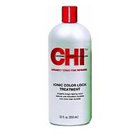 CHI Ionic Color Lock Treatment - Кондиционер Колор Лок 946 млКондиционеры для волос<br>Кондиционер CHI «Колор Лок» предназначен для закрепления окрашивания и дополнительного ухода за волосами. Кондиционер эффективно удаляет остатки химических реагентов с волос, нормализует влагообмен, придает волосам эластичность и мягкость, а также запечатывает кутикулу, что препятствует вымыванию красящего пигмента и потере влаги. Кондиционер защищает волосы от повреждений и других внешних неблагоприятных факторов, делает волосы сильными и послушными.В состав средства входят натуральные компоненты, такие как масло из пшеничных ростков, оливковое масло, гидрализованный шелк и кератин.Применение: Нанесите косметическое средство на влажные волосы, выждите2 минуты, затем смойте. Для более интенсивного воздействия выждите до 5 минут, обернув голову полотенцем.Объём: 946 мл<br>