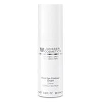Janssen Demanding Skin Rich Eye Contour Cream - Питательный крем для кожи вокруг глаз 30 млКрема для зоны глаз<br>Крем для кожи вокруг глаз с нежнейшей текстурой обладает мгновенным и пролонгированным действием.Инновационный полисахаридный комплекс, созданный с учетом физиологии кожи, связывается с кератином рогового слоя и обеспечивает оптимальноеувлажнение.Способствует регенерации, увлажнению, разглаживанию морщин вокруг глаз. Снимает сухость, шелушение и воспаление этой чувствительной зоны. Идеальная основа под макияж глаз.Применение:Легкими похлопывающими движениями наносите небольшое количество Rich Eye Contour Cream на очищенную кожу вокруг глаз утром и/или вечером.Активные компоненты:Масла макадамии, ши, сквалан, сахариды, витамины А, С и Е, арахидоновая кислота, гиалуроновая кислота, лецитин.Объем:30 мл<br>