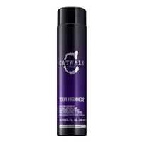 TIGI Catwalk Your Highness  Shampoo - Шампунь для придания объема волосам 300 млШампуни для волос<br>Шампунь для объема волос оживляет и приподнимает волосы не отяжеляя их. Your Highness Elevating Shampoo делает волосы гладкими, яркими, пышными и упругими. Обладает легкой формулой без сульфата. Подходит для тонких волос.Применение:Нанести на влажные волосы, вспенить, смыть теплой водой. При необходимости повторить. Для получения лучшего результата применяйте вместе с кондиционером Your Highness Nourishing Conditioner.Объём:300 мл<br>