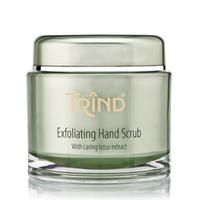Trind Exfoliating Hand Scrub Отшелушивающий крем-скраб для рук 200 гСредства для ухода за волосами<br>Отшелушивающий крем-скраб для рук с экстрактом лотоса. Нежный крем-скраб эффективно очищает, отшелушивает и обновляет кожу, делая ее гладкой, эластичной и бархатистой.В качестве отшелушивающего ингредиента применяются мелкие кристаллики сахара, которые в отличие от соли, являются более щадящими и не повреждают кожу. Кристаллики сахара, соприкасаясь с кожей, бережно отшелушивают старые ороговевшие частички, кожа становится гладкой, мягкой и обновленной.Входящие в состав активные ингредиенты масло ши, экстракт лотоса и подсолнечное масло увлажняют, успокаивают и снимают усталость кожи.Рекомендации по использованию:нанести на руки,аккуратно вмассировать в кожу,вымыть руки теплой водой.Объём:200 г<br>