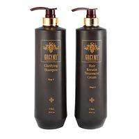 Greymy Hair Keratin Treatment Cream + Clarifying Shampoo - Восстанавливающий кератиновый крем с эффектом выпрямления + Очищающий шампунь 500 мл*800 мл