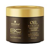 Schwarzkopf BC Bonacure Oil Miracle Golden Shimmer Treatment - Маска Золотое сияние 150 млМаски для волос<br>Укрепляет, придает натуральную эластичность волосам. Увлажняет и восстанавливает поврежденные волосы.Усиливает сияние волос и делает их послушными. Оставляет волосы мягкими и гладкими на ощупь.Маска для очень сухих, пористых и безжизненных волос, которые потеряли сияние и нуждаются в укрепляющем уходе.Не содержит силиконы.Активные ингредиенты:Масло Арганы – придает дополнительное сияние и делает волосы мягкими на ощупь.Пантенол (известный как Про-Витамин В5) – восстанавливает баланс влаги в структуре волос.Катионный полимер – активный ингредиент ухода, позитивно заряжен, «чувствует» и находит поврежденные зоны, ионным принципом покрывает поверхность волос.Восстанавливает, разглаживает и оздоравливает поверхность волос.Способ применения:Вымойте волосы шампунем BC золотое сияние Oil Miracle. Нанесите маску на влажные, подсушенные полотенцем волосы и примените деликатный массаж по длине и концам. Оставьте на волосах на 5-10 минут, затем тщательно смойте. Используйте 1-2 раза в неделю для интенсивного ухода.Объем:150 мл<br>