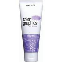 Matrix Colorgraphics Lift &amp; Tone Cool Toner - Тонер холодный 118 млКраска для волос<br>КолорГрафикс Лифт-энд-Тон - это высокоэффективная система, которая дает возможность осветлять и тонировать пряди за один шаг, ухаживая за волосами во время окрашивания. Холодный тонер • Смягчает жёлтые нотки фона осветления; • Для холодного результата осветления. Выбор холодного тонера позволяет максимально нейтрализовать натуральный пигмент волос.Способ применения:Пропорции смешивания: Осветляющая пудра 2 ложкиВыберите Промоутер 2 ложки (2,4% или 6,6%)Выберите Тонер 1 ложка (Экстра Холодный, Холодный, Нейтральный или Теплый)• 2-10 минут с теплом Или до 50 минут при комнатной температуре• Периодически проверяйте достигнут ли желаемый уровень осветления.Рекомендации по использованию: • Смешайте систему Color Graphics в неметаллической посуде; • Не заменяйте компоненты системы Color Graphics Lift and Tone (Пудра, Промоутер или Тонер) никакими другими продуктами; • Используйте только рекомендованные Промоутеры 2,4% (8V) или 6,6% (22V). Не используйте с перекисью водорода более 6,6% (22V); • Не превышайте рекомендуемого времени выдержки. Использовать сразу. Нанесение только без контакта с кожей головы.Состав:Система содержит кондиционирующий Про-Витамин В5, ухаживающий за волосами во время окрашивания. Все составляющие системы содержат специальные ингредиенты, которые при смешивании обеспечивают быстрое окрашивание, бережный уход и великолепный результат. Тонеры имеют приятный фруктовый аромат.Объем:118 мл<br>
