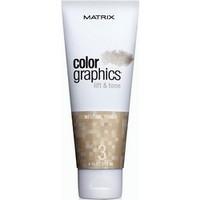Matrix Colorgraphics Lift &amp; Tone Neutral Toner - Тонер нейтральный 118 млКраска для волос<br>КолорГрафикс Лифт-энд-Тон - это высокоэффективная система, которая дает возможность осветлять и тонировать пряди за один шаг, ухаживая за волосами во время окрашивания. Нейтральный тонер • Балансирует нейтральные тона; • Для натуральных прядей, эффект выгоревших на солнце волосСпособ применения:Пропорции смешивания: Осветляющая пудра 2 ложкиВыберите Промоутер 2 ложки (2,4% или 6,6%)Выберите Тонер 1 ложка (Экстра Холодный, Холодный, Нейтральный или Теплый)• 2-10 минут с теплом Или до 50 минут при комнатной температуре• Периодически проверяйте достигнут ли желаемый уровень осветления.Рекомендации по использованию: • Смешайте систему Color Graphics в неметаллической посуде; • Не заменяйте компоненты системы Color Graphics Lift and Tone (Пудра, Промоутер или Тонер) никакими другими продуктами; • Используйте только рекомендованные Промоутеры 2,4% (8V) или 6,6% (22V). Не используйте с перекисью водорода более 6,6% (22V); • Не превышайте рекомендуемого времени выдержки. Использовать сразу. Нанесение только без контакта с кожей головы.Состав:Система содержит кондиционирующий Про-Витамин В5, ухаживающий за волосами во время окрашивания. Все составляющие системы содержат специальные ингредиенты, которые при смешивании обеспечивают быстрое окрашивание, бережный уход и великолепный результат. Тонеры имеют приятный фруктовый аромат.Объем:118 мл<br>