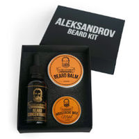 Aleksandrov Beard Kit №05 (Oil BC Glühwein, Balm Sunrise, Wax Mild Sunrise) - Набор для стимуляции роста бороды