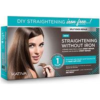 Kativa Straightening Without Iron - Набор для выпрямления волос «восстановление» для волос с секущимися кончиками (маска 150 мл + шампунь 30 мл + кондиционер 30 мл)