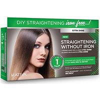 Kativa Straightening Without Iron - Набор для выпрямления волос «экстра-блеск» для тусклых волос с жемчугом и кератином (маска 150 мл + шампунь 30 мл + кондиционер 30 мл)
