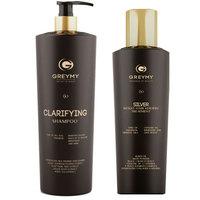 Greymy Silver Result Hair Keratin Treatment + Clarifying Shampoo - Кератиновый крем для восстановления и выпрямления 500 мл + очищающий шампунь 800 мл