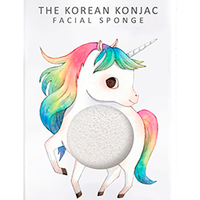 The Konjac Sponge Unicorn Prancing White - Спонж для умывания лица с крючком в комплекте (без добавок)