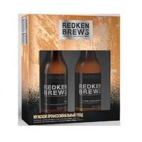 """Redken Brews - Подарочный набор """"профессиональный уход из нью-йорка для мужчин"""" (шампунь 3 в 1 300 мл + шампунь для интенсивного очищения 300 мл)"""