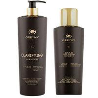 Greymy Gold Hair Keratin Treatment + Clarifying Shampoo - Кератиновый крем для выпрямления с частицами золота 500 мл + очищающий шампунь 800 мл