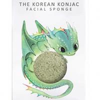 The Konjac Sponge Dragon Green Clay - Спонж для умывания лица с крючком в комплекте с зеленой глиной (для расширенных пор)