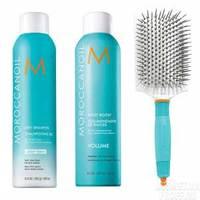 Moroccanoil Set - Набор осенний стайлинг сет №1 (щетка лопатка, спрей для прикорневого объема 250 мл, сухой шампунь для светлых волос 205 мл)