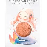 The Konjac Sponge Mermaid Pink Clay - Спонж для умывания лица с крючком в комплекте с розовой глиной (для чувствительной кожи)