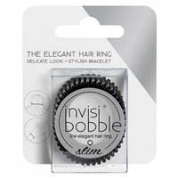 Invisibobble Slim True Black - Резинка-браслет для волос с подвесом (черный) 3 шт