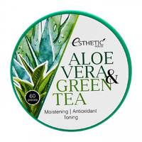 Esthetic House Aloe Vera&Green Tea Hydrogel Eye Patch - Гидрогелевые патчи для глаз алоэ и зеленый чай 60 шт