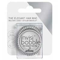 Invisibobble Slim Chrome Sweet Chrome - Резинка-браслет для волос с подвесом (мерцающий серебряный) 3 шт