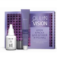 Ollin Vision Set Black - Крем-краска для бровей и ресниц черный (в наборе) 20 мл