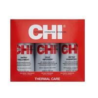 CHI Infra Trio - Набор для домашнего ухода (шампунь 177 мл, кондиционер 177 мл, шелковая инфузия 177 мл)