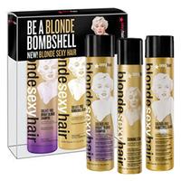 Sexy Hair Blonde Kit - Набор для волос (шампунь 300 мл + кондиционер 300 мл + спрей для создания объема 50 мл)
