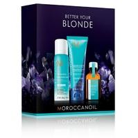 Moroccanoil Better Your Blonde Mini - Набор для светлых волос (сухой шампунь для светлых волос 65 мл, тонирующий шампунь с фиолетовым пигментом 70 мл, восстанавливающее масло 25 мл)