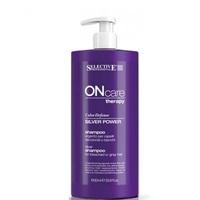 Selective On Care Tech Silver Power Shampoo - Серебряный шампунь для обесцвеченных или седых волос 1000 мл