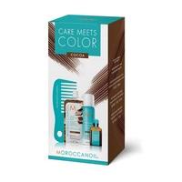 Moroccanoil Color Meets Care Cocoa - Набор Тонир (тонирующая маска 30 мл; сух шампунь д/св волос 65 мл; масло для темных волос; мини-расческа)