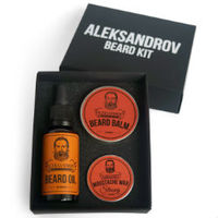 Aleksandrov Beard Kit №03 (Oil Sunrise, Balm Sunrise, Wax Strong Sunrise) - Набор для ухода за бородой: масло, бальзам и воск